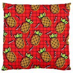 Fruit Pineapple Red Yellow Green Large Flano Cushion Case (one Side)