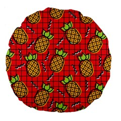 Fruit Pineapple Red Yellow Green Large 18  Premium Flano Round Cushions