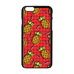 Fruit Pineapple Red Yellow Green Apple Iphone 6/6s Black Enamel Case