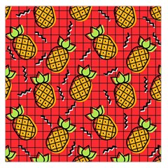 Fruit Pineapple Red Yellow Green Large Satin Scarf (square)