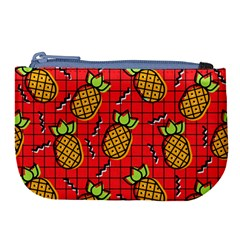 Fruit Pineapple Red Yellow Green Large Coin Purse