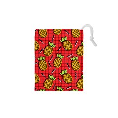 Fruit Pineapple Red Yellow Green Drawstring Pouches (xs)