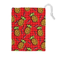 Fruit Pineapple Red Yellow Green Drawstring Pouches (extra Large)