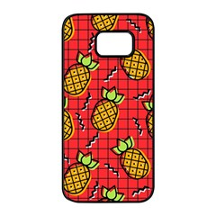 Fruit Pineapple Red Yellow Green Samsung Galaxy S7 Edge Black Seamless Case