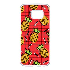 Fruit Pineapple Red Yellow Green Samsung Galaxy S7 Edge White Seamless Case