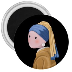 Girl With A Pearl Earring 3  Magnets