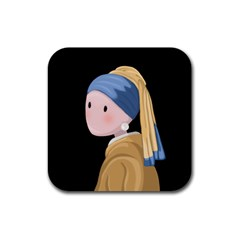 Girl With A Pearl Earring Rubber Square Coaster (4 Pack)