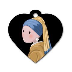Girl With A Pearl Earring Dog Tag Heart (one Side)