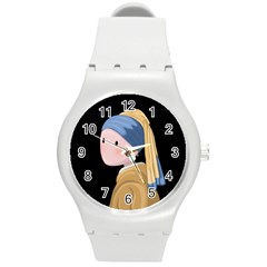 Girl With A Pearl Earring Round Plastic Sport Watch (m)