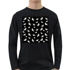 Paper Cranes Pattern Long Sleeve Dark T Shirts
