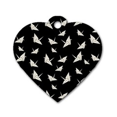 Paper Cranes Pattern Dog Tag Heart (two Sides)