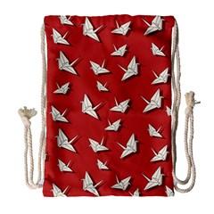 Paper Cranes Pattern Drawstring Bag (large)