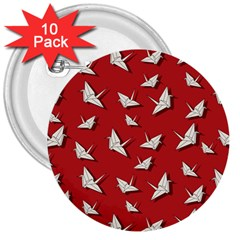 Paper Cranes Pattern 3  Buttons (10 Pack)