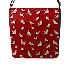 Paper Cranes Pattern Flap Messenger Bag (l)