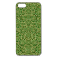 Stars In The Wooden Forest Night In Green Apple Seamless Iphone 5 Case (clear)