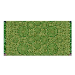 Stars In The Wooden Forest Night In Green Satin Shawl