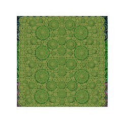 Stars In The Wooden Forest Night In Green Small Satin Scarf (square)