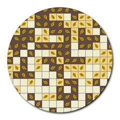 Autumn Leaves Pattern Round Mousepads