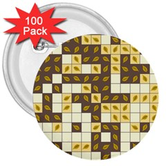 Autumn Leaves Pattern 3  Buttons (100 Pack)