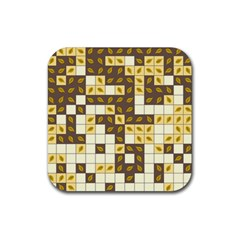 Autumn Leaves Pattern Rubber Square Coaster (4 Pack)