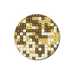 Autumn Leaves Pattern Rubber Coaster (round)