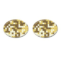 Autumn Leaves Pattern Cufflinks (oval)