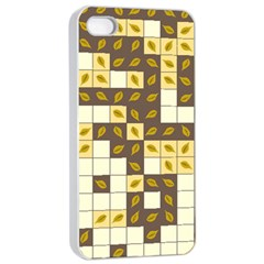 Autumn Leaves Pattern Apple Iphone 4/4s Seamless Case (white)