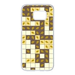 Autumn Leaves Pattern Samsung Galaxy S7 Edge White Seamless Case