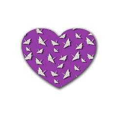 Paper Cranes Pattern Rubber Coaster (heart)