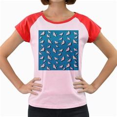 Paper Cranes Pattern Women s Cap Sleeve T Shirt