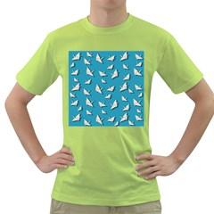 Paper Cranes Pattern Green T Shirt