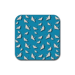 Paper Cranes Pattern Rubber Square Coaster (4 Pack)