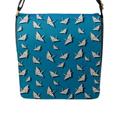 Paper Cranes Pattern Flap Messenger Bag (l)