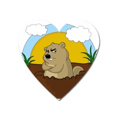 Groundhog Day Heart Magnet
