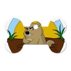 Groundhog Day Dog Tag Bone (one Side)