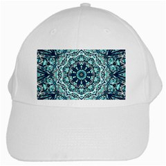 Green Blue Black Mandala  Psychedelic Pattern White Cap
