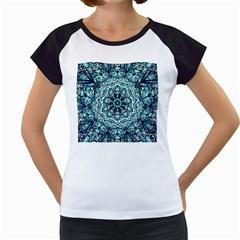 Green Blue Black Mandala  Psychedelic Pattern Women s Cap Sleeve T