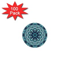 Green Blue Black Mandala  Psychedelic Pattern 1  Mini Buttons (100 Pack)