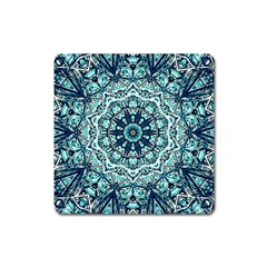 Green Blue Black Mandala  Psychedelic Pattern Square Magnet