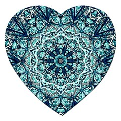 Green Blue Black Mandala  Psychedelic Pattern Jigsaw Puzzle (heart)