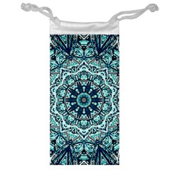 Green Blue Black Mandala  Psychedelic Pattern Jewelry Bag