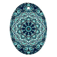 Green Blue Black Mandala  Psychedelic Pattern Oval Ornament (two Sides)