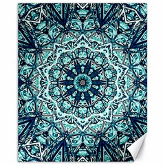 Green Blue Black Mandala  Psychedelic Pattern Canvas 11  X 14