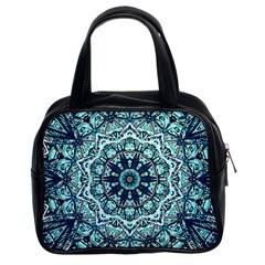 Green Blue Black Mandala  Psychedelic Pattern Classic Handbags (2 Sides)