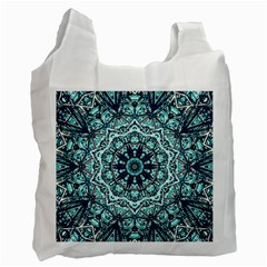 Green Blue Black Mandala  Psychedelic Pattern Recycle Bag (one Side)