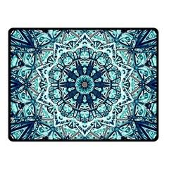 Green Blue Black Mandala  Psychedelic Pattern Fleece Blanket (small)