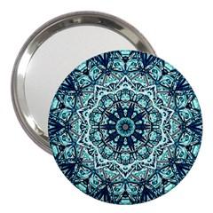 Green Blue Black Mandala  Psychedelic Pattern 3  Handbag Mirrors
