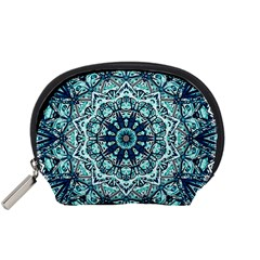 Green Blue Black Mandala  Psychedelic Pattern Accessory Pouches (small)