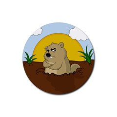 Groundhog Day Rubber Coaster (round)
