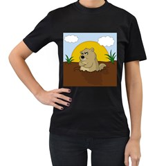 Groundhog Day Women s T Shirt (black) (two Sided)